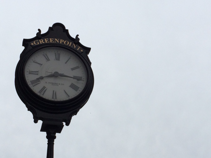 Greenpoint Sidewalk Clock, on of the few remaining sidewalk clocks left from the 1860s