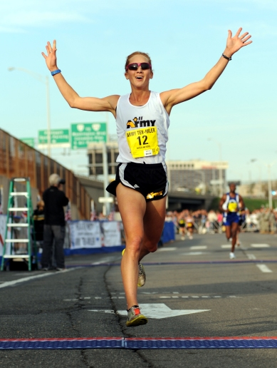 U.S. Army World Class Athlete Program runner Capt. Kelly Calway of Fort Carson, Colo., finishes second among women in the 2010 Army Ten-Miler with a time of 57 minutes, 10 seconds on Oct. 24 at the Pentagon. U.S. Army photo by Tim Hipps, FMWRC Public Affairs, Flickr